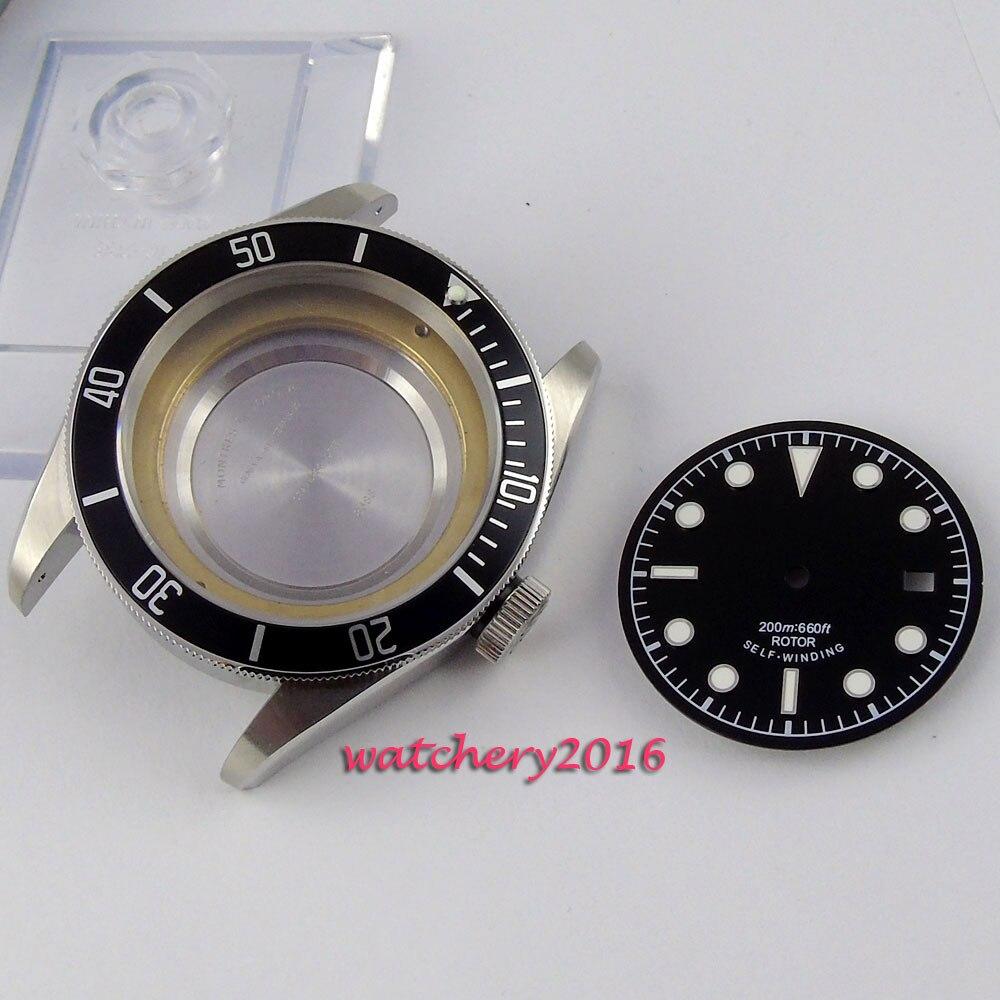 цена New 41mm parnis sapphire glass fit 2824 2836 movement Watch Case+Dials онлайн в 2017 году