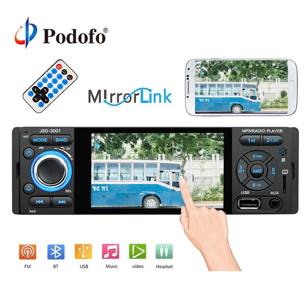 Autoradio Podofo 1 Autoradio Din 4 pouces ecran tactile Auto Audio stéréo lecteur multimédia miroir lien Bluetooth USB AUX FM SWC