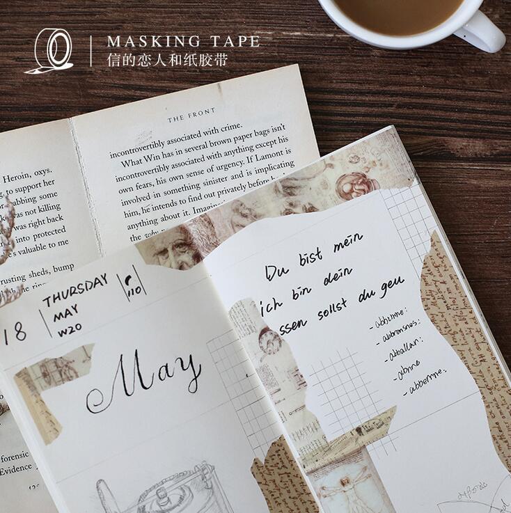 Retro Manuscript Vinci Washi Tape Adhesive Tape DIY Scrapbooking Sticker Label Masking Tape happy fairytale theatre washi tape adhesive tape diy scrapbooking sticker label masking tape