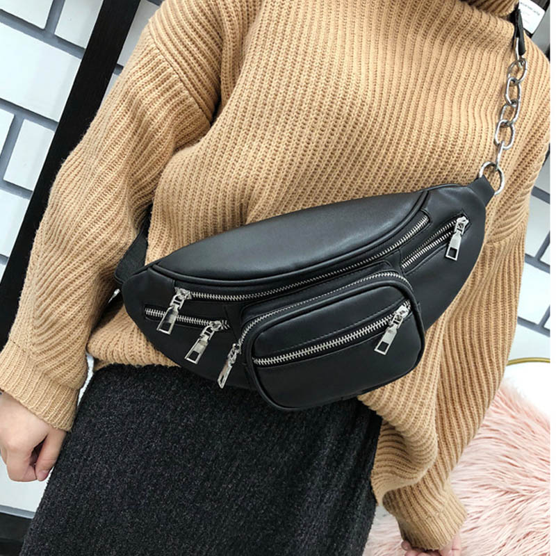 Women's Black Waist Bag PU Leather Belt Bags Shoulder Messenger Chest Bag Female Chain Fanny Pack Waterproof Banana Hip Purse