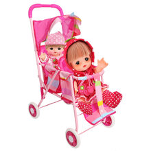 Pretended Play Furniture Toys Doll Trolley Foldable Stroller Pink Foldable Double Seat Doll Stroller with Swivel Wheels(3699)(China)