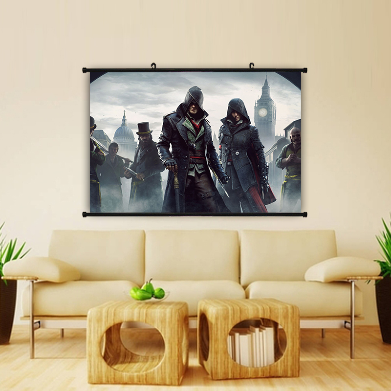 Assassins Creed Star Wars My Hero Academia Scroll Painting Anime Wall Hanging Poster Canvas 22 Styles Home Art Decoration 3