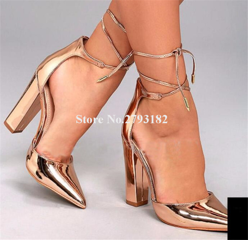 New Fashion Women Charming Pointed Toe Gold Patent Leather Chunky Heel Pumps Lace-up Thick High Heels Formal Dress Shoes charming high waist yellow lace dress for women