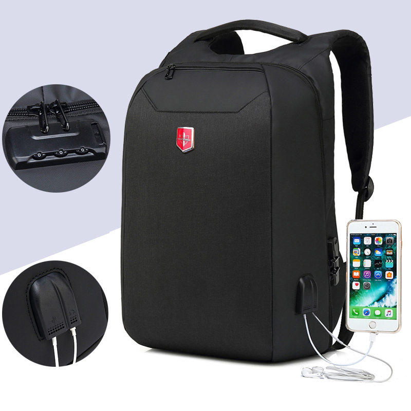 Anti Theft Swiss Business Backpack Men External Charging USB Function Laptop Backpacks Oxford Waterproof Travel bags