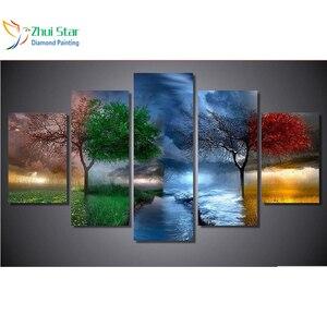 Image 1 - Zhui 스타 5d diy 다이아몬드 그림 사계절 나무 크로스 스티치 전체 사각형 다이아몬드 3d 다이아몬드 자수 5pcs 홈 adornm zx