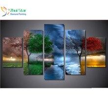 Zhui gwiazda 5d diy diament malarstwo cztery pory roku drzewa ściegu pełne kwadratowe diamenciki 3d diament haft 5 sztuk domu adornm zx