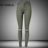 Fashion Ladies Army Green Ripped Skinny Jeans Women High Waist Elastic Cotton Pencil Pants Spring Casual