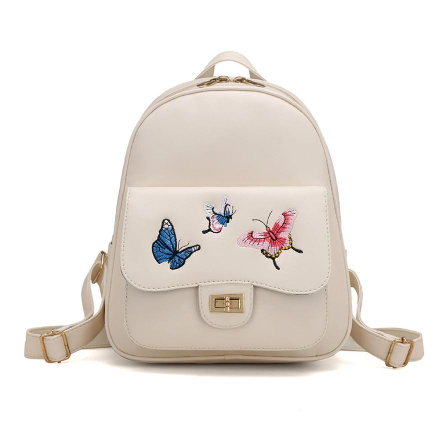 4 Sets Women Girl Butterfly Embroidery Shoulder Handbag Leather Totes Simple Leisure Messenger Bag