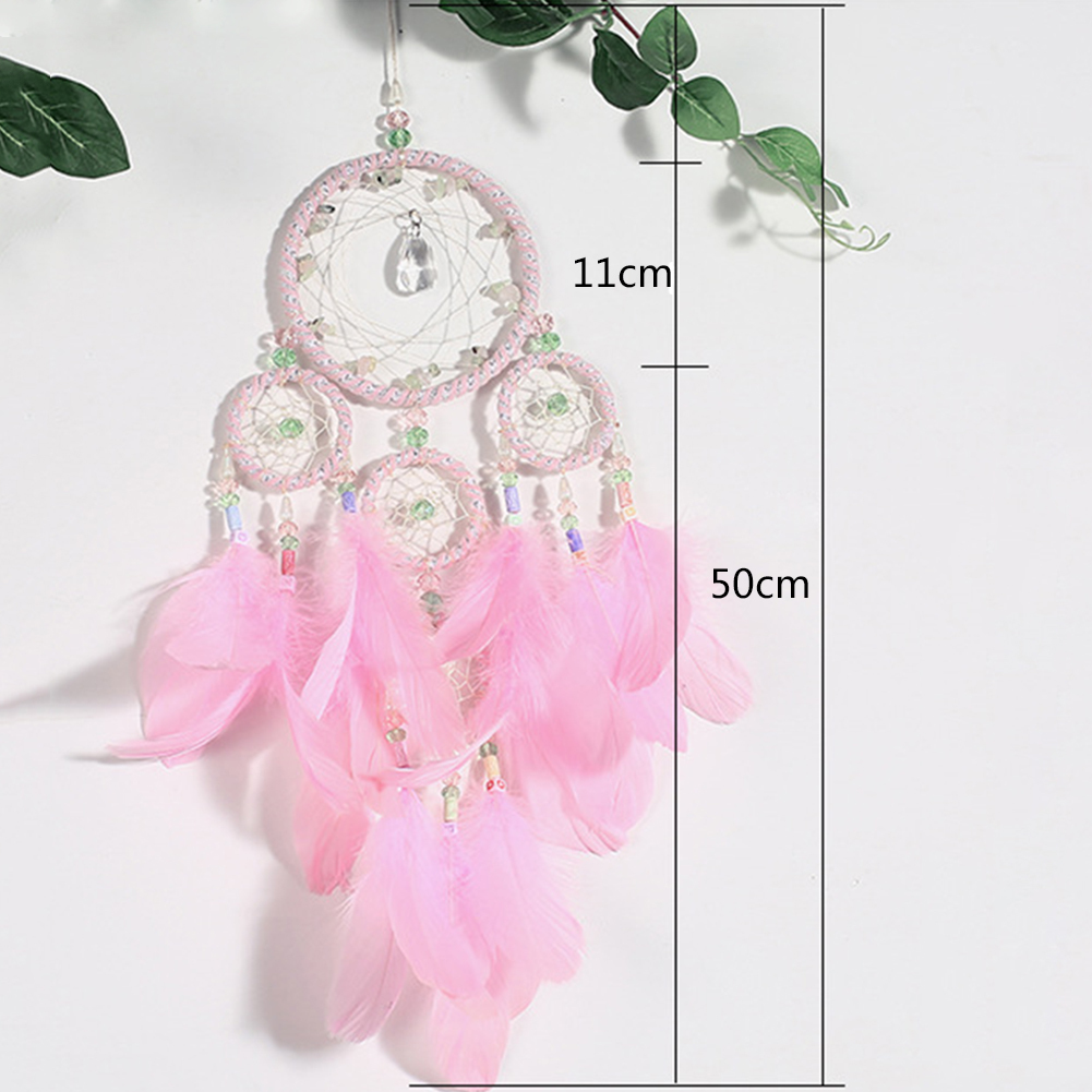 Pink color dream catcher with crystal home ornaments innovative 1x dream catcher mightylinksfo