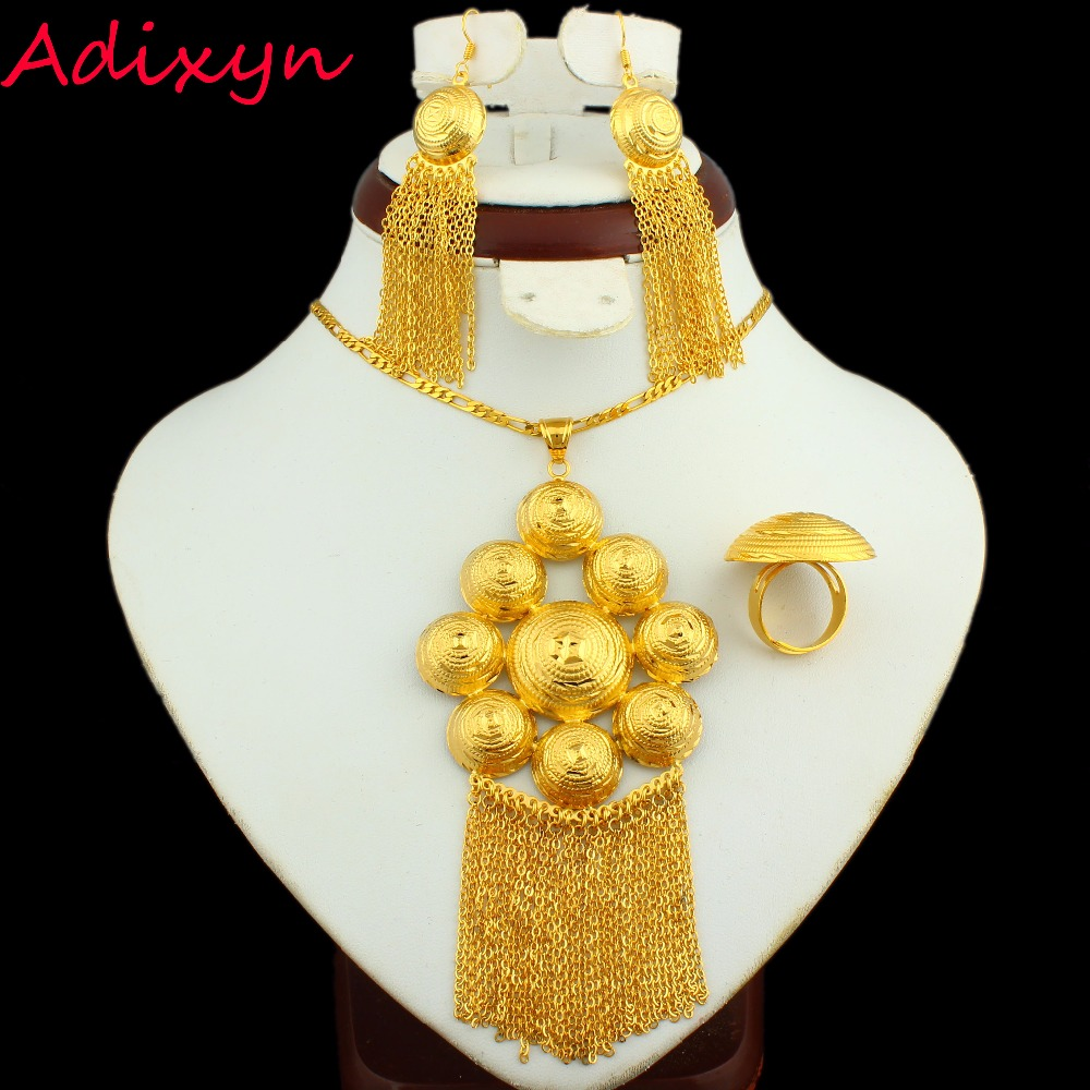Africandubai bride jewelry sets 24k gold color necklaceearring africandubai bride jewelry sets 24k gold color necklaceearringringpendant ethiopianmiddle easterindiakenya jewelry gifts in jewelry sets from jewelry negle Images