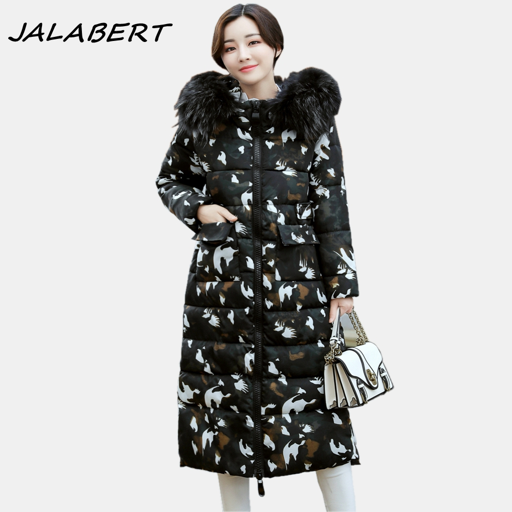 2017 Winter New Women Long Slim Hooded Big Fur Collar Thicker Cotton Warm Jacket For Female Pattern P Parkas winter 2017 women new large fur hooded warm cotton jacket female bread long zipper solid slim thicker parkas coat
