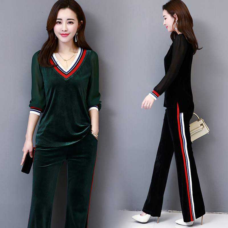 Plus Size M-5XL Women's 2019 Autumn New Gold Velvet Stitching Chiffon Long Sleeve Top +Pant Fashion Casual Sportsuit 2 Piece Set