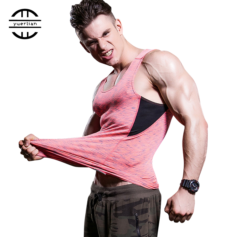 Yuerlian Quickly Dry Men's Sportswear T-Shirts Compression Fitness Tights Vest Top Sleeveless Blouse Red Running Jersey Gym Vest yuerlian красный xxl