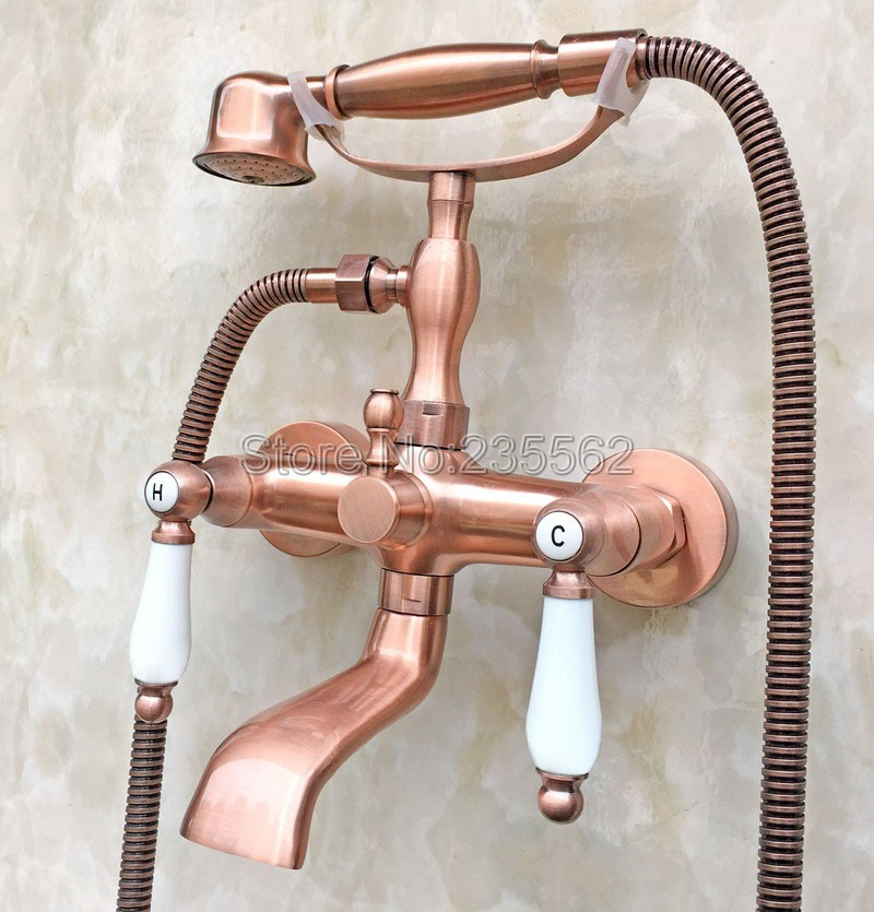 Bathroom Antique Red Copper Wall Mounted Bathtub Faucet Dual Ceramic Handle Shower Mixer Tap with Handheld Shower Spray ltf806 antique red copper handheld shower head bath tub mixer tap wall mounted bathroom dual cross handles faucet wtf803
