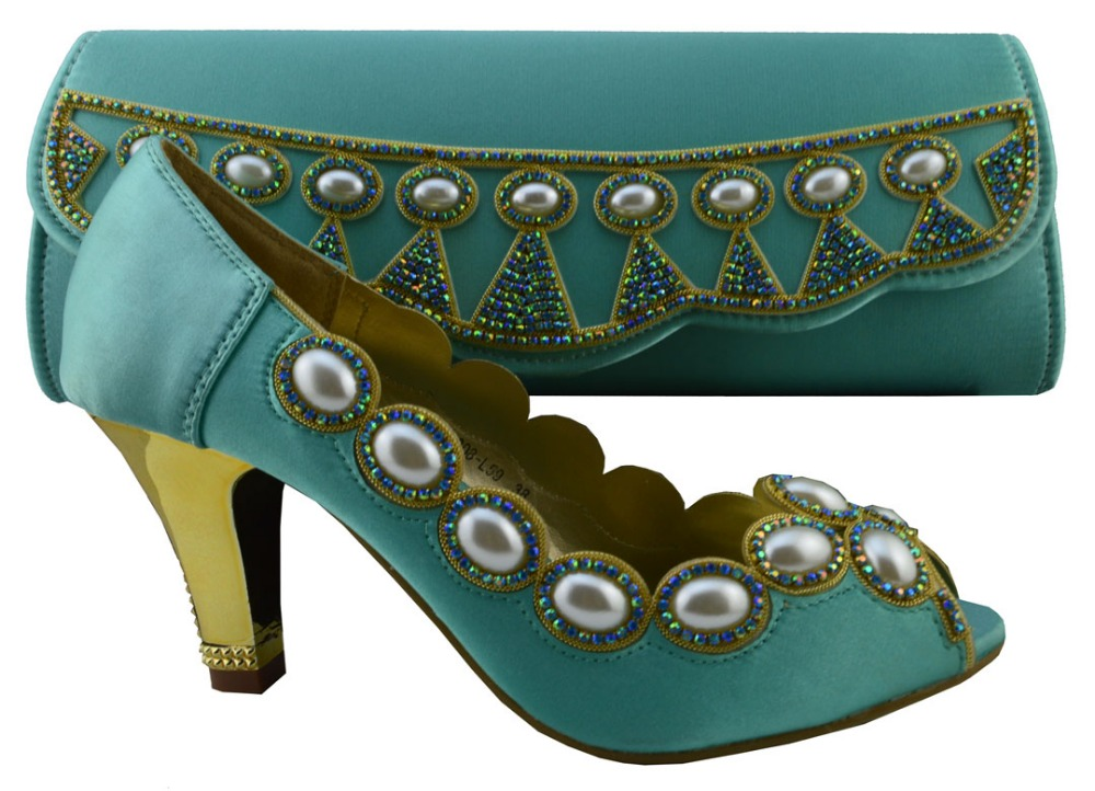 New Arrival Water Green Color High Quality Matching Italian Shoe and Bag Set Decorated with Bead Wedding Shoes and Bag 1308-L59A
