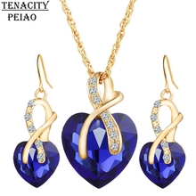 2017 Gold Color Love Crystal Heart Jewelry Sets For Women Necklace Earrings Jewellery Set New Bridal Wedding Accessories