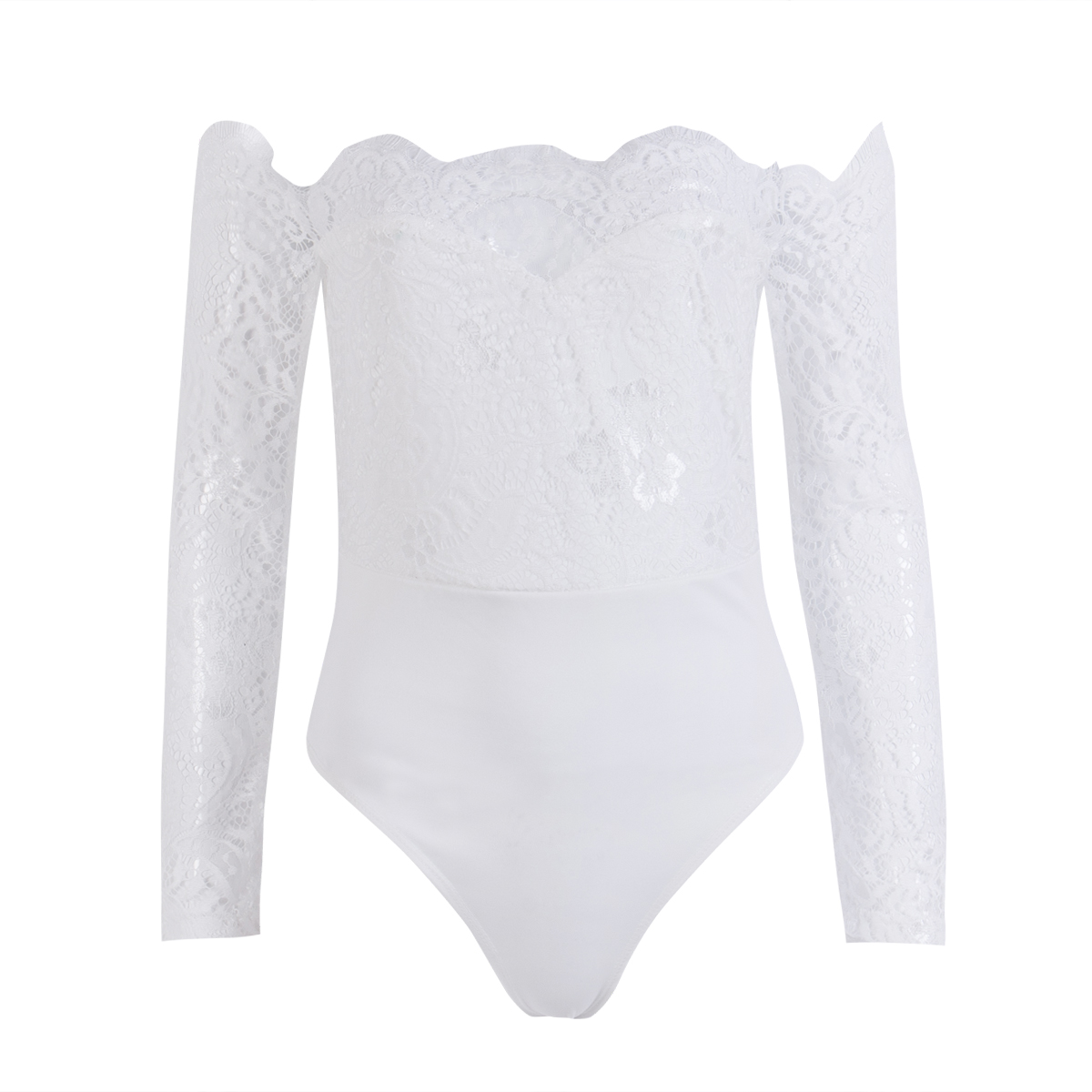 16c9d1af08ee Sexy Women Off Shoulder Slash Neck Lace Jumpsuits White Bodycon Ruffles  Party Playsuits Bodysuit Bell Bottom Pants-in Jumpsuits from Women s  Clothing on ...