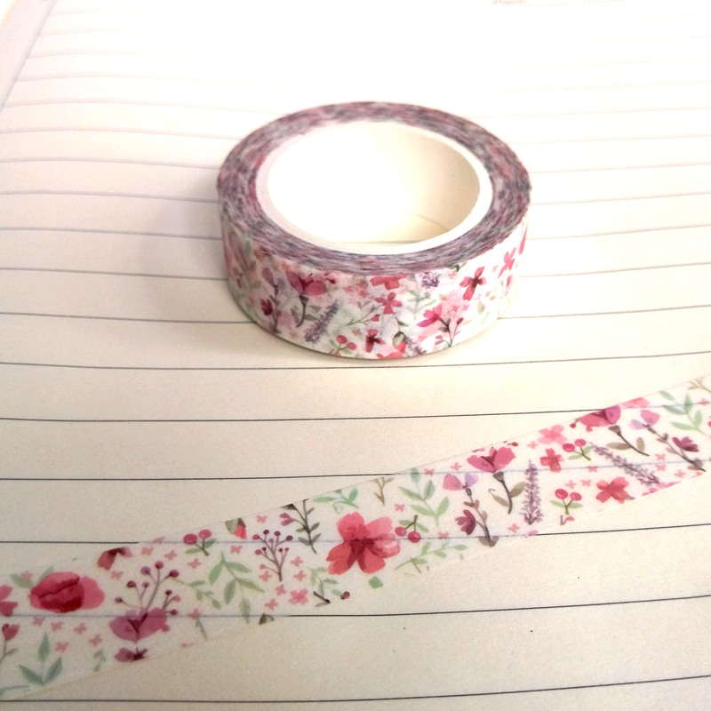 Spring Cherry Blossom Flower DIY Japanese Washi Tape Paper Masking Tapes Adhesive Tapes Stickers Decorative Stationery 1.5cm*10m