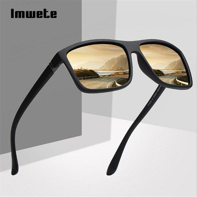 Imwete Spolaryzowane Okulary Mężczyźni Ruch Projektant Jazdy okulary Przeciwsłoneczne Kobiety Rocznika Anty-uv Driver Czarny Gogle Okulary