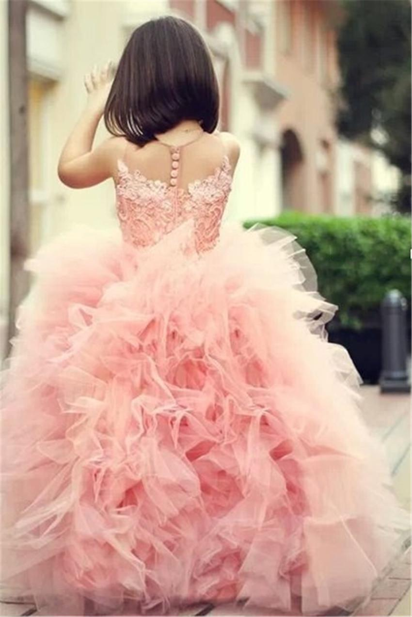 free shipping pink for weddings ball gown 2014 christmas pageant Communion gown pink Lovely lace appliques   Flower     Girl     Dresses