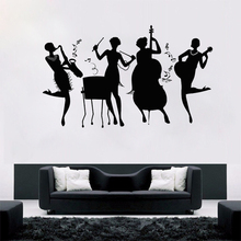 Home Decor Art Vinyl Wall Decal Jazz Band Club Girls Music Retro Style Sticker Removable Mural AY607