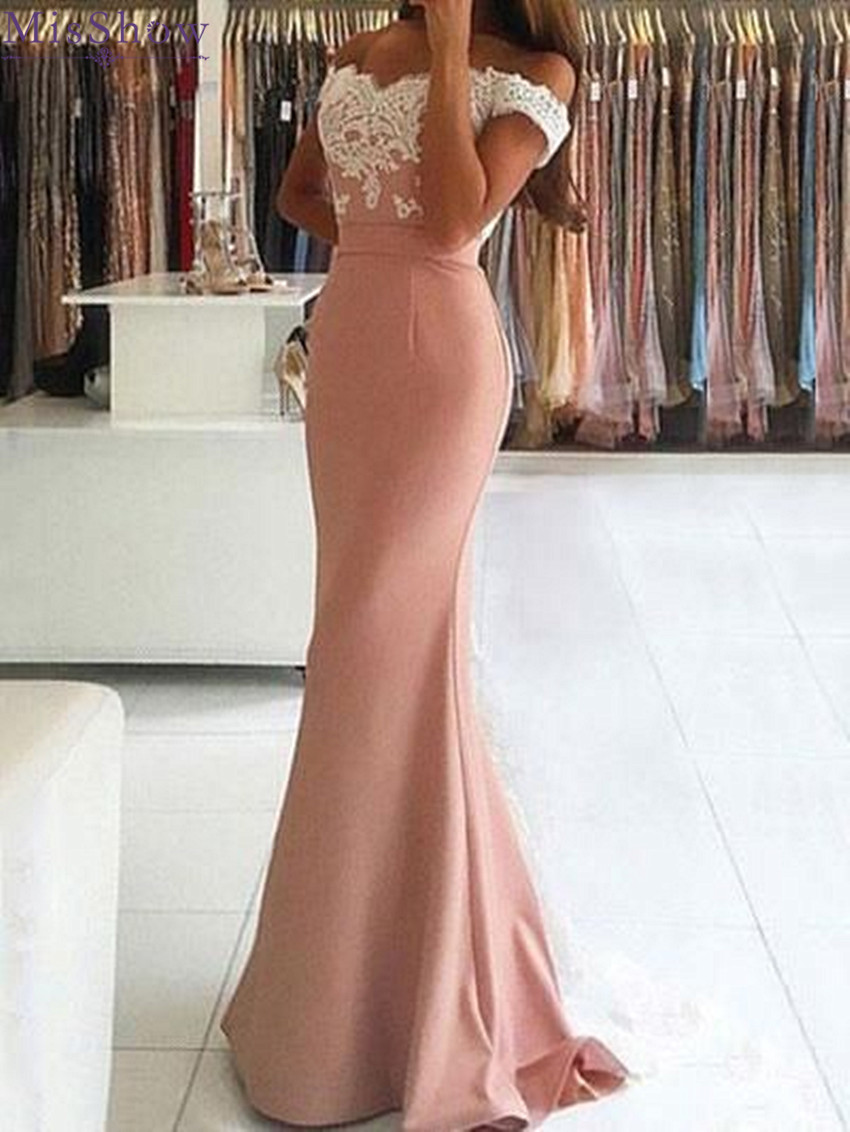 Robe De Soiree Mermaid Satin Ladies   Evening     Dresses   2018 Lace Off the Shoulder Sexy Backless Customizable Women   Evening   Gowns