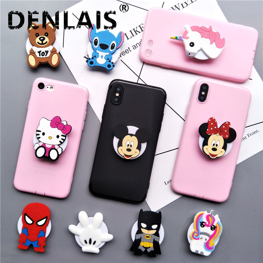 Galleria fotografica Cute Minnie Kitty Stitch Cartoon Grip Stand Holder Silicone Soft Phone Case For iPhone 7 8 Plus X 6 S Plus 6S 5 5S Case Coque