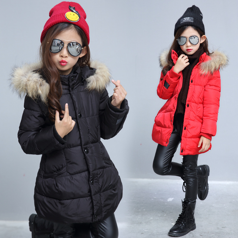 цены на Weixu Girls Winter Jackets Coats Kids Fur Hooded Thick Warm Long Down Cotton Parka Coat Children's Black Outwear Jacket Clothes в интернет-магазинах