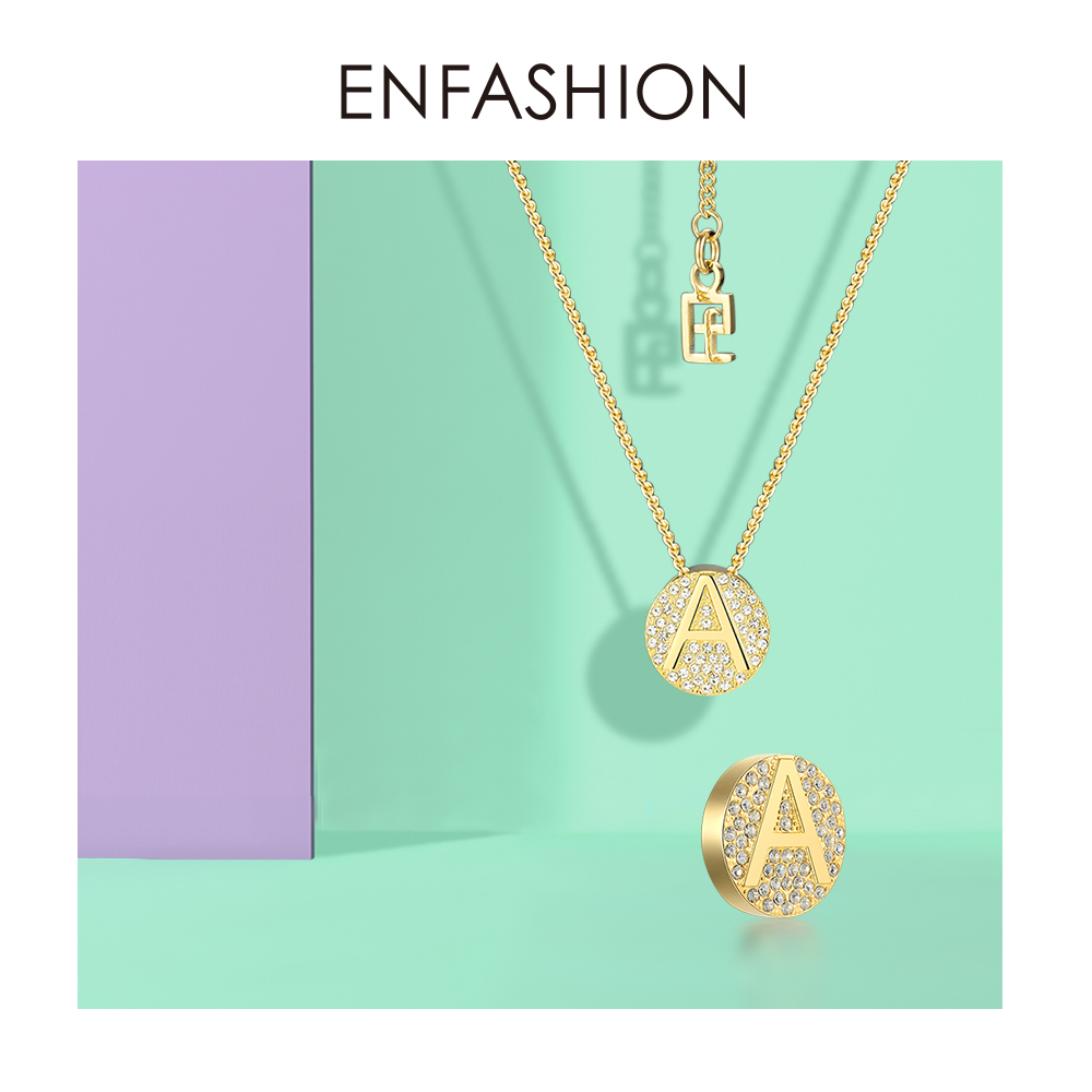 Image 5 - Enfashion Letter Initial Pendants Necklace Stainless Steel Gold Color Letter Charms Necklaces For Women Fashion Jewelry 188002Pendant Necklaces   -