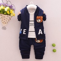 Casual Autumn Baby Boys Children Kids Infants Bear Coat Outwear Jackets T Shirts Tops Long Pants