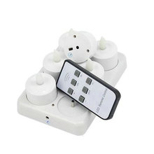 Set of 6 LED Candle Remote Controlled Flickering Frosted Rechargeable Tea Light Electronics Light