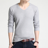 Men Winter V Neck Sweater Thick Pulloovers Slim Fit Cotton Knitted Long Sleeve Knitwear For Men
