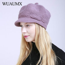 dad494c83f5 Wuaumx Knitted Woolen Winter Hats For Women Warm Beanie Cap Beret Hats With  Velvet