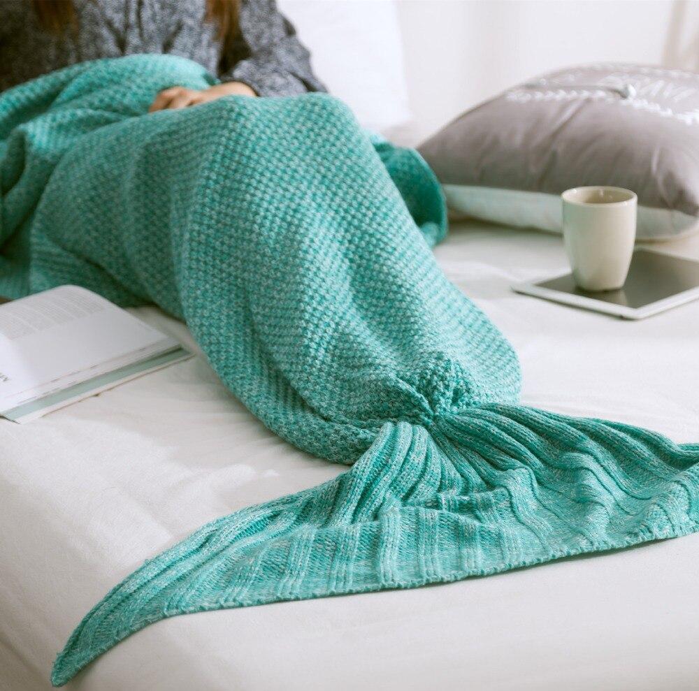 Hot Mermaid Blanket Handmade Knitted Sleeping Wrap TV Sofa Kids Adult Baby Mermaid Tail Blanket crocheted bag Bedding Throws bag in Blankets from Home Garden