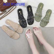 New Women Slippers Buckle Fashion Transparent Flat Heel Anti Skid Home Outside Open Toe Platform Slides Drags Soft y087