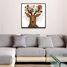 YongHe Nordic style Home Decorative Oil Painting Abstract Elk Customizable Sizes Spray Painting wall deco Frameless 1pcs Canvas