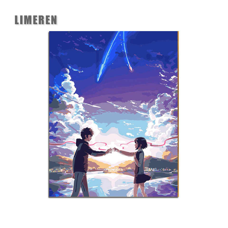 DIY Oil Painting Cartoon Movie Japan Anime Your Name Coloring By Number Modular Painting Digital Paint By Number For Unique Gift