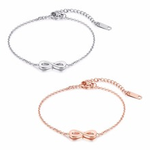 Fashion Simple Infinity Women s Bracelets Bangles Rose Gold Color Stainless Steel Link Chain Female Ladies Jewelery Gift