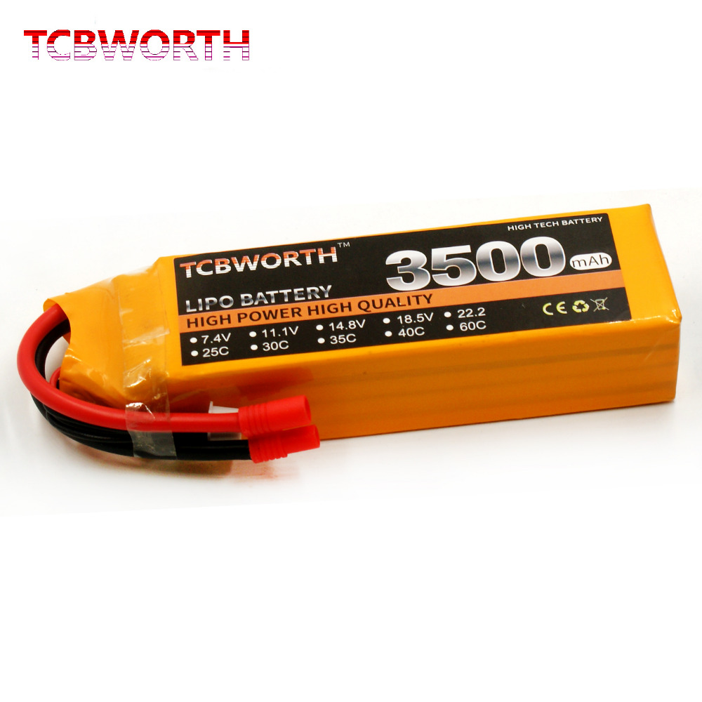 TCBWORTH 4S RC Airplane Lipo battery 14.8V 3500mAh 30C For RC Quadrotor Helicopter Drone Car Boat Li-ion battery tcbworth rc lipo airplane battery 2s 7 4v 4000mah 30c for rc helicopter quadrotor drone car boat truck li ion batteria