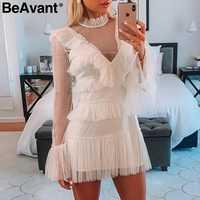 Женское винтажное Сетчатое платье в горошек BeAvant, белое платье с оборками и длинным рукавом, элегантное короткое вечернее платье