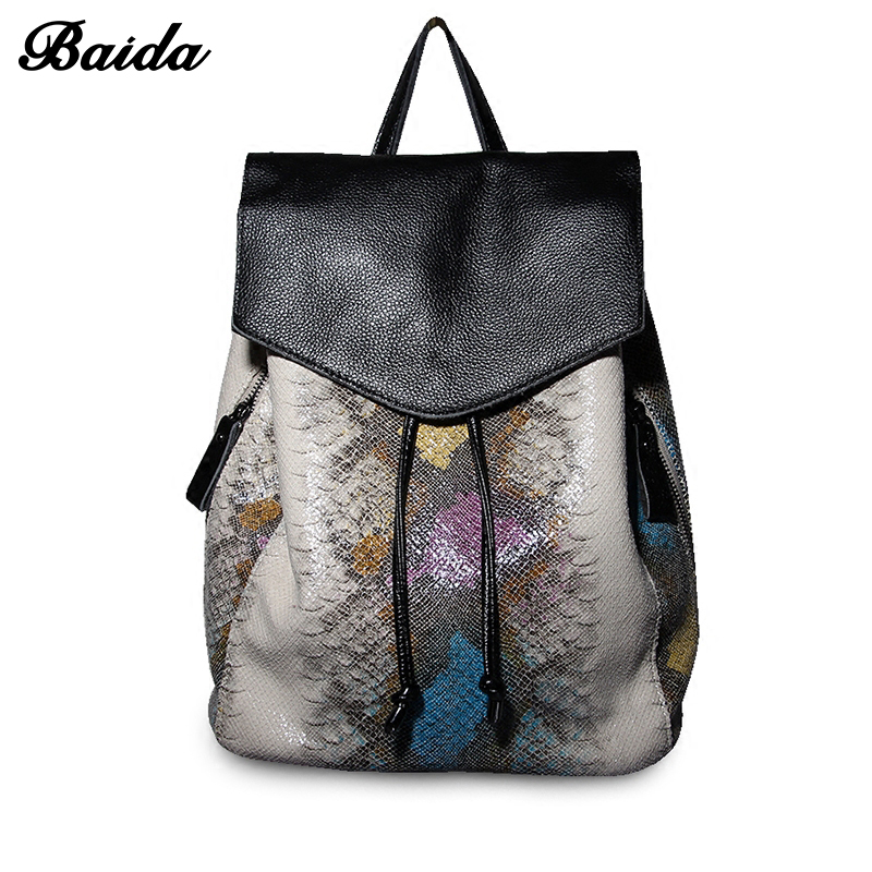 Women Genuine <font><b>Real</b></font> Cow Leather Backpack Drawstring Bag Serpentine Satchel Bags School Travel Daily Casual Vintage Retro Bagpack