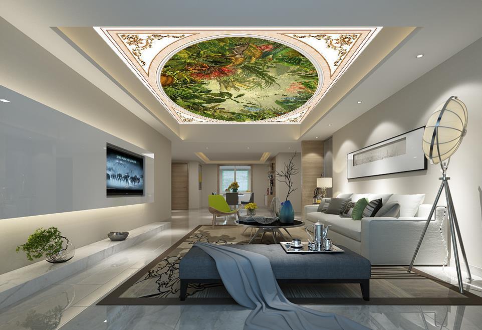 custom 3d ceiling murals Tropical plants large wall murals ...