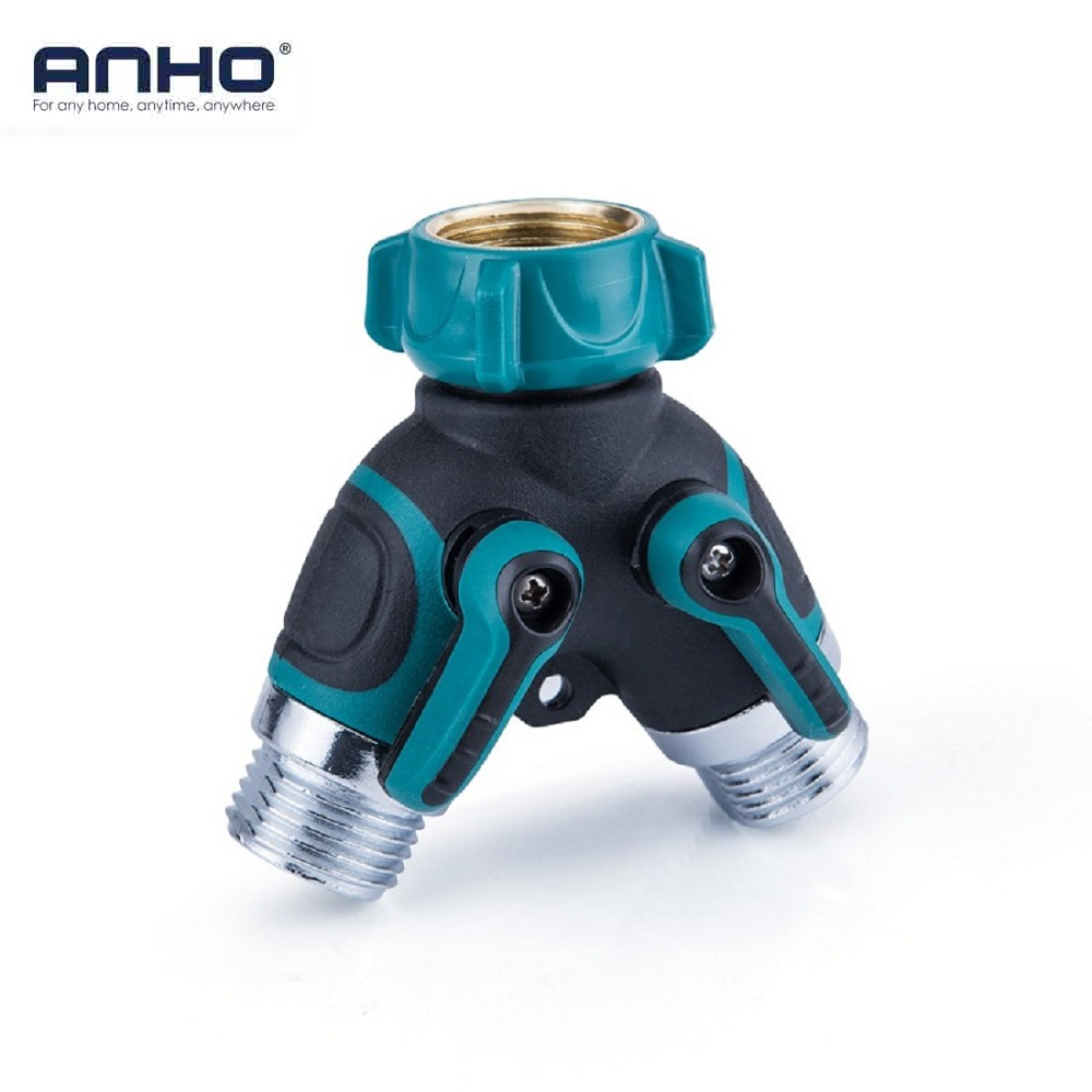 ANHO 3/4'' Garden Water Connectors Hose Pipe Fittings 2 Way Y-shaped Valve Switch Hose Filter Shut Off Zinc Alloy Agriculture 4 way water tap converter 3 4 connector splitter hose pipe adapter pipe fitting garden irrigation watering page 5