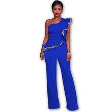 b3c1d7f420d 6colors Women Jumpsuits Ruffles Overalls Casual One Shoulder Long Playsuits  Rompers Jumpsuit Long Pants Plus Size