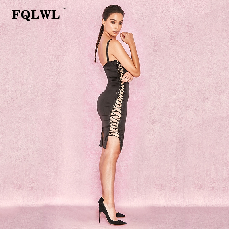 FQLWL Side Lace Up Hollow Out Summer Dress Mujeres correa de - Ropa de mujer