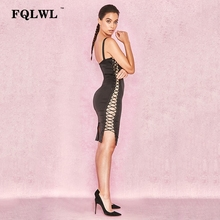FQLWL Side Lace Up Hollow Out Nyári ruha Női Spagetti Strap Patchwork Fémes Ring Bandage Wrap Dress Party Sundress Vestidos