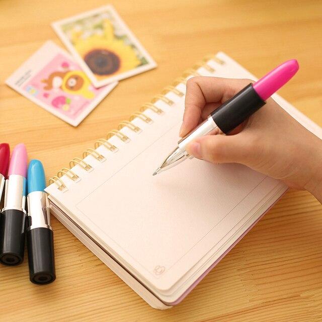 Student Cute Kawaii ballpoint Pen Creative lipstick Ball pen For Kids Novelty Item Stationery Gift School Supplies 1506 2
