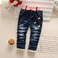 Spring Autumn Roupas Baby Girls Washed Butterfly Bow Lace Distrressed Princess Denim Jeans Full Length Pants Kids Trousers S3744