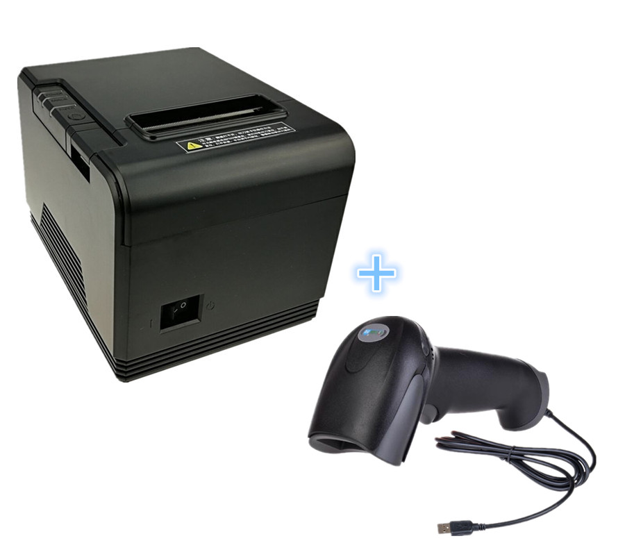 high quality POS bill printer And wired scanners 1PCS 80mm Thermal receipt Printer and 1PCS Wired Scanner-in Printers from Computer & Office    1