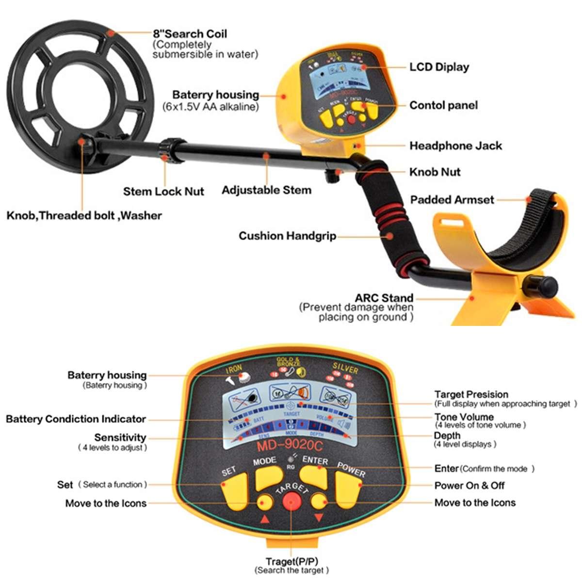 Détecteur de métaux souterrain professionnel MD9020C détecteur de métaux haute sensibilité LCD affichage trésor or chasseur détecteur de métaux - 3